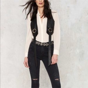 Kickin Up Dust Leather Bolo Vest - Hot & Edgy